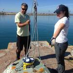 Maddie and Kent prepping for Agua Hedionda Lagoon deployment, February 2016